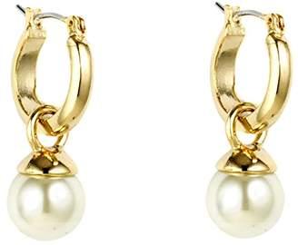 Anne Klein Gold-Tone Small Click It Pearl Hoop Drop Earrings