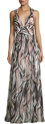 Aidan Mattox Women's Halter Shirred Printed Maxi Dress