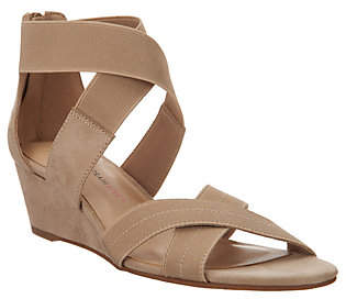 Isaac Mizrahi Live! Double Strap Wedge Open ToeSandal