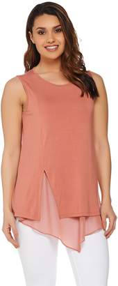 Halston H By H by Sleeveless Knit Top with Chiffon Detail