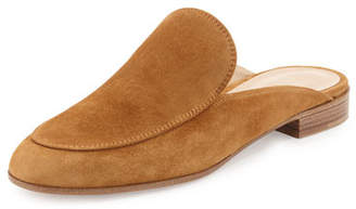 Gianvito Rossi Notched Flat Suede Mule Slide