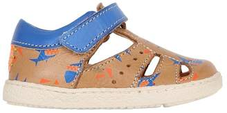 Ocra Sharks Print Nappa Leather Sandals