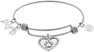 "Love This Life love this life Crystal Heart ""I Love My Dog"" Bangle Bracelet"