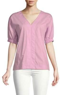 Donna Karan Short-Sleeve Cotton Top