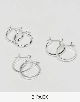 Asos Design Pack Of 3 20mm Hoop Earrings In Silver