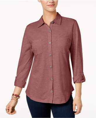 Style&Co. Style & Co Petite Button-Down Roll-Tab Shirt