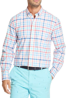 Izod Newport Oxfords Mens Long Sleeve Checked Button-Front Shirt
