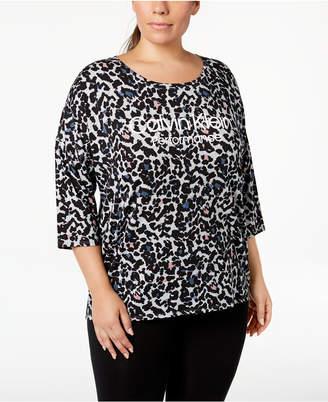 Calvin Klein Plus Size Printed Logo Dolman-Sleeve T-Shirt