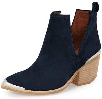 YDN Women Ankle Booties Low Heel Suede Stacked Boots Cut Out Shoes with Metal Toe 6