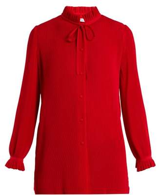 Balenciaga Ruffled Tie Neck Plisse Blouse - Womens - Red