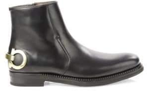 Salvatore Ferragamo Gancini Leather Ankle Boots
