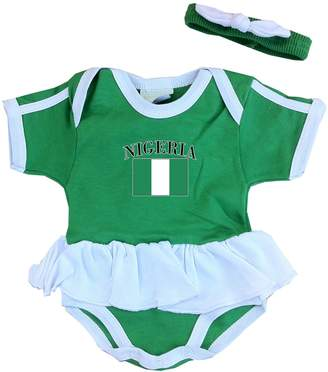 PAM baby girls Nigeria soccer bodysuit with white piping