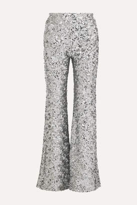 Halpern Sequined Tulle Flared Pants - Silver