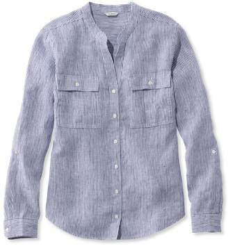 L.L. Bean L.L.Bean Premium Washable Linen Roll-Tab Shirt, Long-Sleeve Stripe