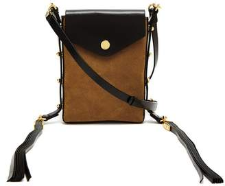 Isabel Marant Teinsy Suede And Leather Cross Body Bag - Womens - Black Tan