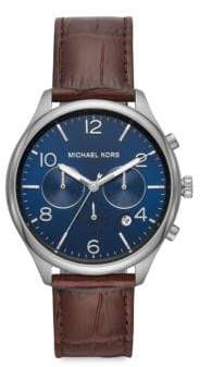 Michael Kors Merrick Chronograph Brown Leather Watch