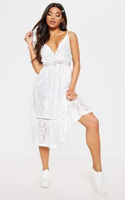 1945c0cc5de PrettyLittleThing White Lace Button Through Midi Dress