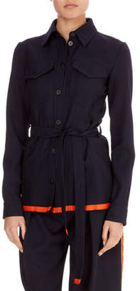 Victoria Beckham Victoria Button-Front Patch-Pocket Belted Wool Jacket w/ Contrast Hem