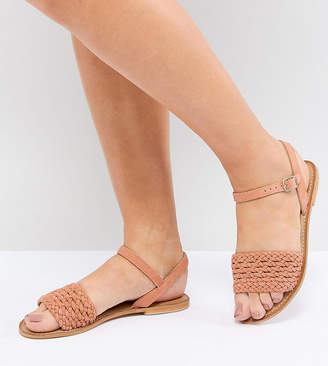 Asos Design DESIGN Victory Wide Fit Leather Woven Flat Sandals