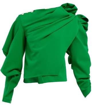 A.W.A.K.E. Mode A.w.a.k.e. Mode - Ruffled Asymmetric Crepe Blouse - Womens - Green