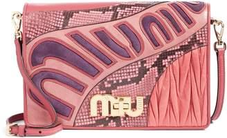 Miu Miu Madras Goatskin Leather Shoulder Bag with Genuine Python Trim
