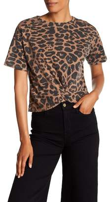 Contemporary Designer Knot Front Leopard Print Tee