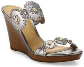 Jack Rogers Jr Layne Whipstitch Metallic Leather Wedge Sandals