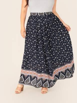 Shein Plus Floral & Paisley Print Maxi Skirt
