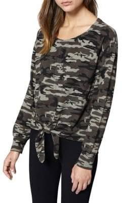 Sanctuary Laguna Tie-Front Camouflage Sweater