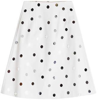 Jil Sander Navy A-Line Cotton Skirt with Sequins
