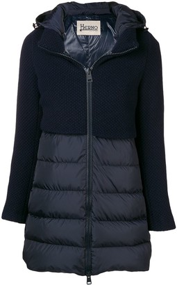 Herno knit panel padded coat