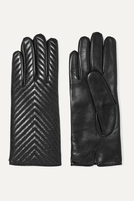 Portolano Quilted Leather Gloves - Black