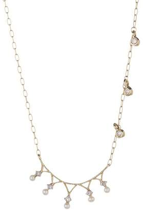 Meira T 14K Yellow Gold Freshwater Pearl & Diamond Necklace - 0.05 ctw