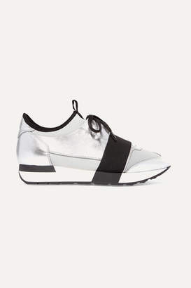 Balenciaga Race Runner Metallic Leather, Mesh And Neoprene Sneakers - Silver