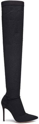 Mesh overlay sock knit thigh high boots