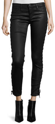 AG Lace-Up Coated Ankle Jeans, Black $325 thestylecure.com