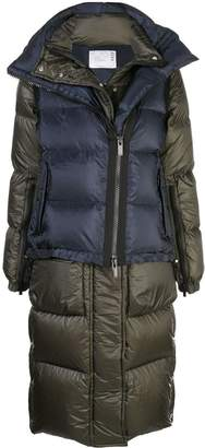 Sacai gilet layered padded coat