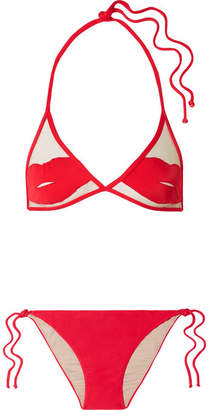 Charlotte Olympia Adriana Degreas Pin-up Kiss Tulle-paneled Triangle Bikini - Red