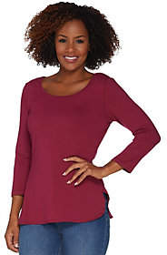 Women with Control 3/4 Sleeve Top w/Shirttail Hem