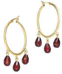 Bloomingdale's Garnet Briolette Hoop Earrings in 14K Yellow Gold - 100% Exclusive