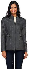 Susan Graver Faux Leather Zip Front Jacket