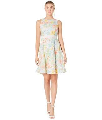 Calvin Klein Floral Print Cotton Eyelet A-Line Dress