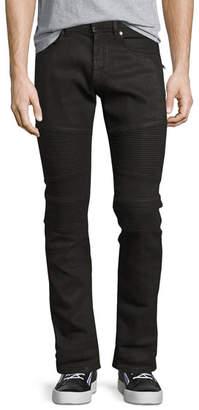 Neil Barrett Wax-Coated Slim-Straight Biker Jeans, Black