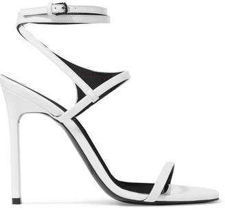 Saint Laurent Amber Glossed-leather Sandals - White