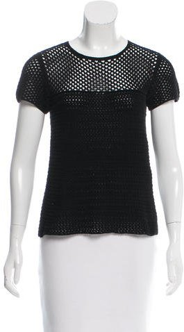 prada Prada Crocheted Short Sleeve Top