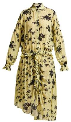 Preen Line Bonna Floral Print Ruched Midi Dress - Womens - Yellow Multi