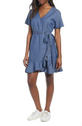 Caslon Ruffle Trim Wrap Dress