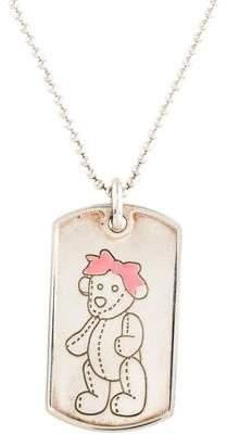 Gucci Enamel Teddy Bear Dog Tag Necklace
