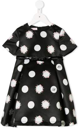 Miss Blumarine floral polka dot dress