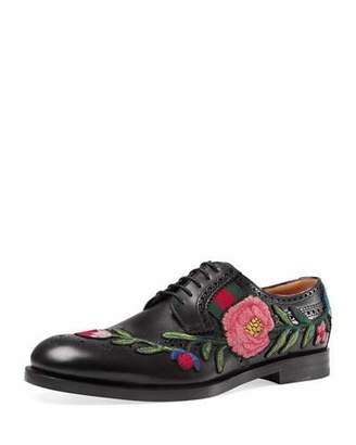 Gucci Strand Embroidered Lace-Up Shoe, Black